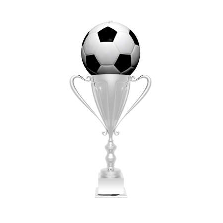 trophy cup with soccer ball isolated on a white background photo