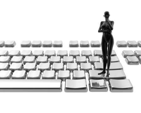 women on keyboard isolated on a white background photo