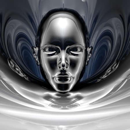 portrait de jeune fille de cyber isolé sur un fond blanc