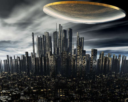 space area: 3d alien UFO space ship above night city Stock Photo