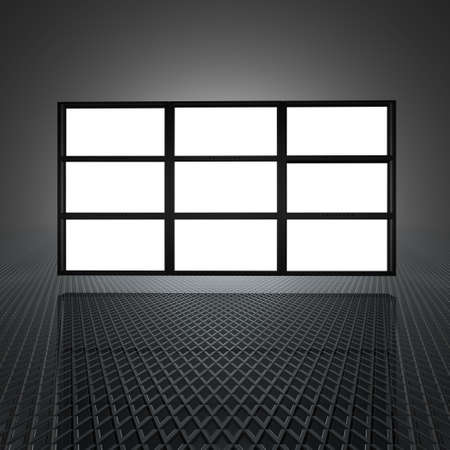 video wall: video wall with blank screens in 3d
