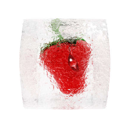 Strawberry frozen in ice cube isolated on a white photo