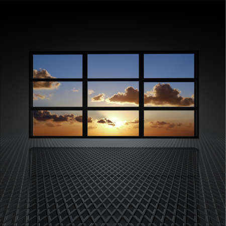 flat screen tv: video wall with clouds and sun on the screens