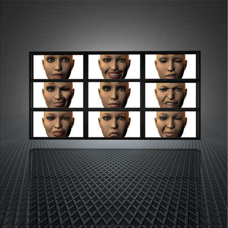 video wall with girl faces on the screens in 3d photo