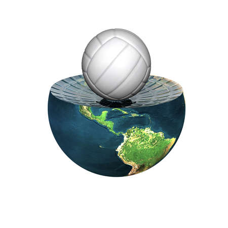 voleyball on earth hemisphere isolated on a white Stock Photo - 4704472