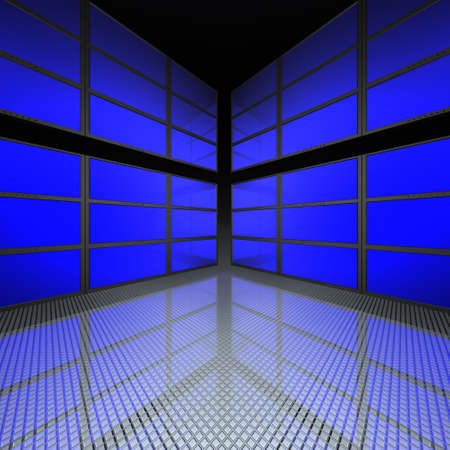video wall: video wall with blue screens in 3d