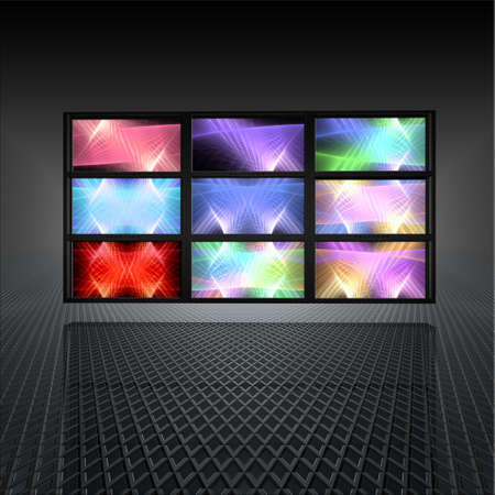 video wall: video wall with abstract lights on  screens