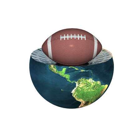 football on earth hemisphere isolated on a white Stock Photo - 4704470