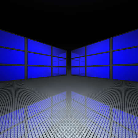 video wall with blue screens in 3d Stock Photo - 4704425