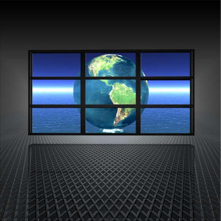 video wall with earth on the screens in 3d Stock Photo - 4704495