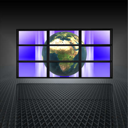 video wall with earth on the screens in 3d