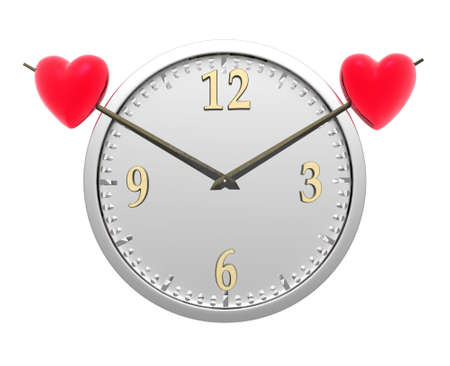 wall clock with two red hearts isolated on a white