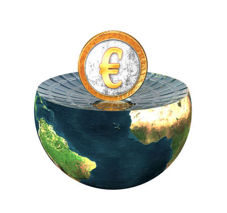euro coin on earth hemisphere isolated on white photo