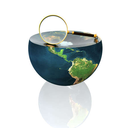 magnifying glass on earth hemisphere isolated on a white Stock Photo - 4704494