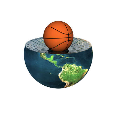 basket ball on earth hemisphere isolated on a white Stock Photo - 4704503
