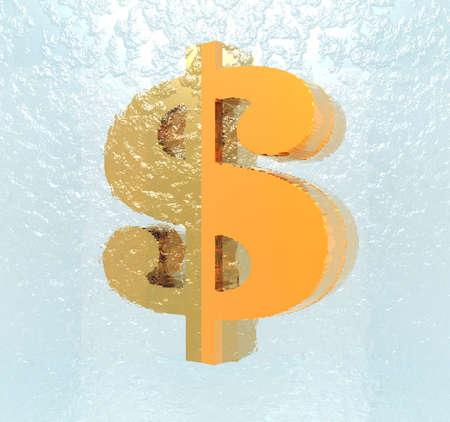 us paper currency: golden us dollar sign in ice