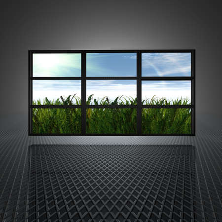 video wall: video wall with clouds and sun on the screens