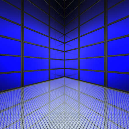 video wall with blue screens in 3d photo