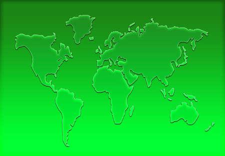 worldmap: colorful world map silhouette Stock Photo
