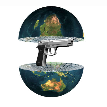 two earth hemisphere with gun isolated on a white Stock Photo - 4756123