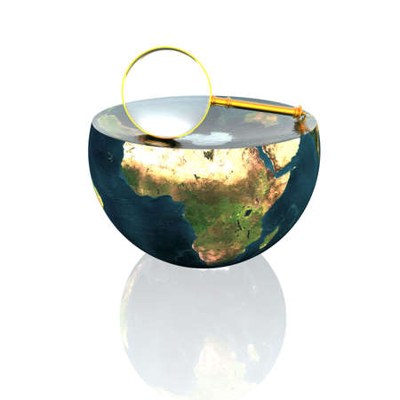 magnifying glass on earth hemisphere isolated on a white Stock Photo - 4756084