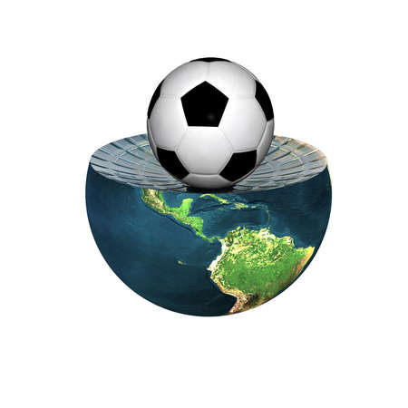 soccer ball on earth hemisphere isolated on a white Stock Photo - 4756119