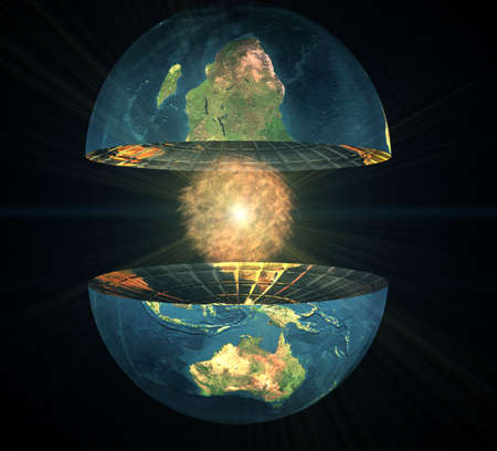 two earth hemisphere with energy ball on a black Stock Photo - 4756132