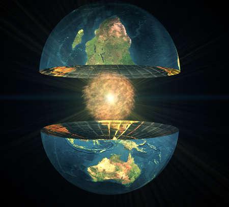 hemisphere: two earth hemisphere with energy ball on a black Stock Photo