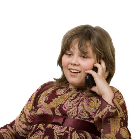 girl talking by phone isolated on a white photo