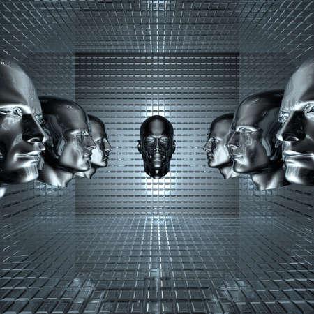 cyber men, robots  head in grid room Stock Photo - 4804520