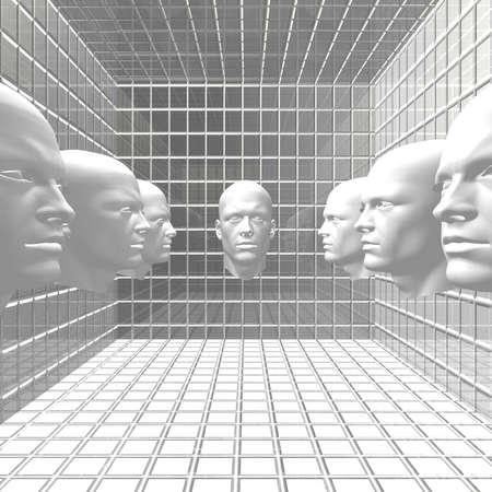 cyber men, robots  head in grid room photo