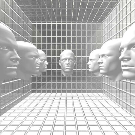 cyber men, robots  head in grid room Stock Photo