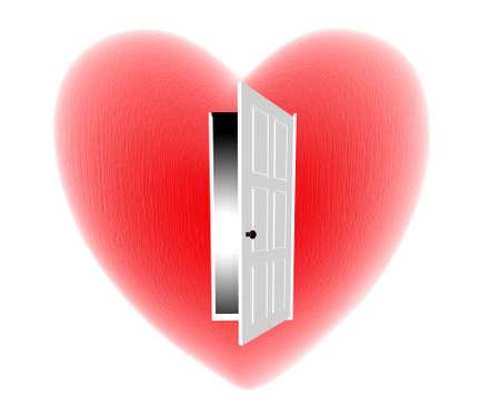 puertas abiertas: rojo coraz�n aislado con puerta abierta en el fondo blanco