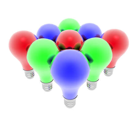 Red, blue and green lightbulbs isolated on a white background photo