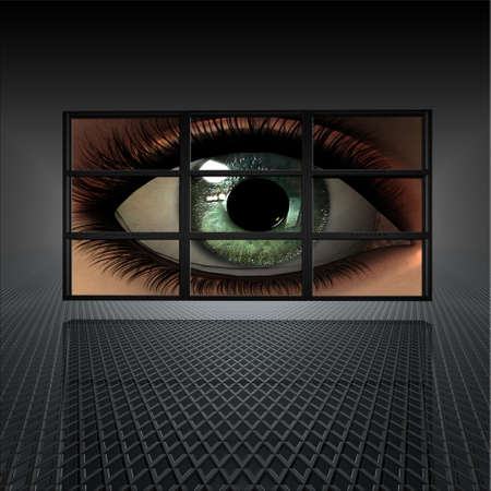 video wall with girl eye on screens photo