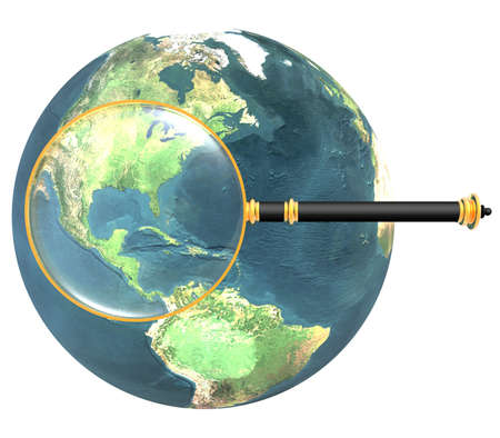 magnifying glass on earth isolated on a white photo