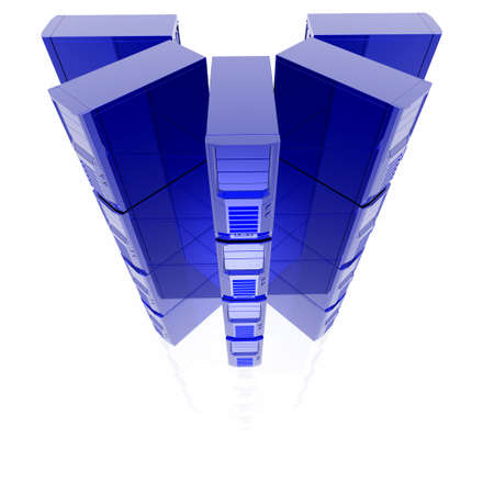 3d computer servers in a row isolated on a white background Stock Photo - 4804532