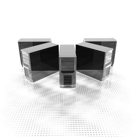 3d computer servers in a row isolated on a white background Stock Photo - 4804528