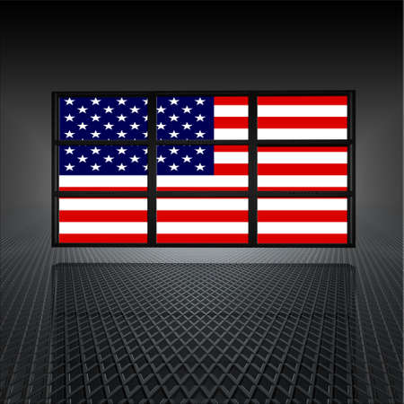 video wall: video wall with us flag on the screens
