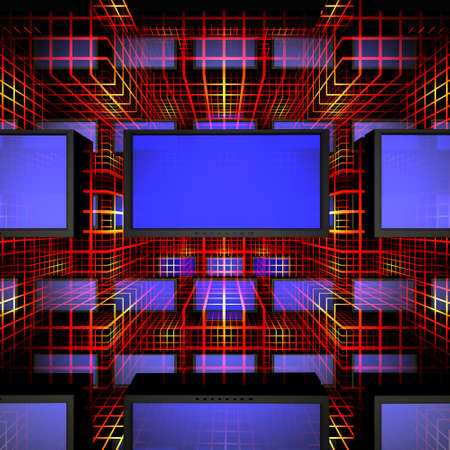 video wall with screens in 3d Stock Photo