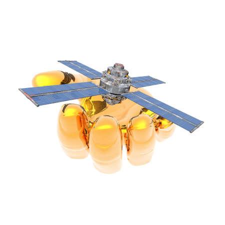 unreal unknown: Sputnik satellitare in mano isolato su un bianco