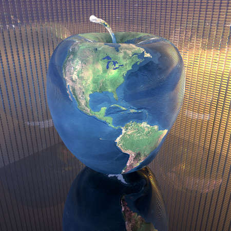 bright apple with earth texture in 3d Stock Photo - 4804498