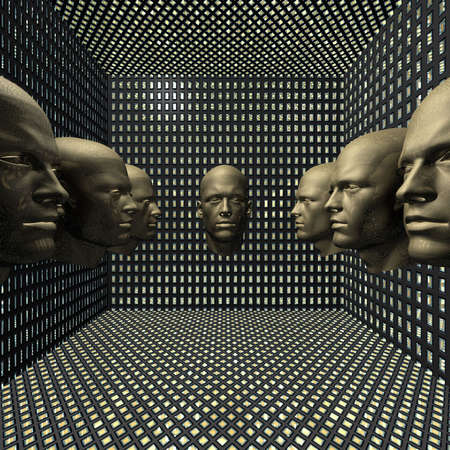 cyber men, robots  head in grid room Stock Photo - 4804526