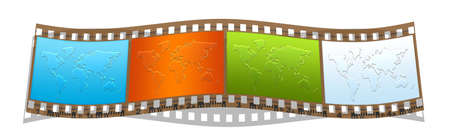 geographical: film with colorful world geographical maps silhouette