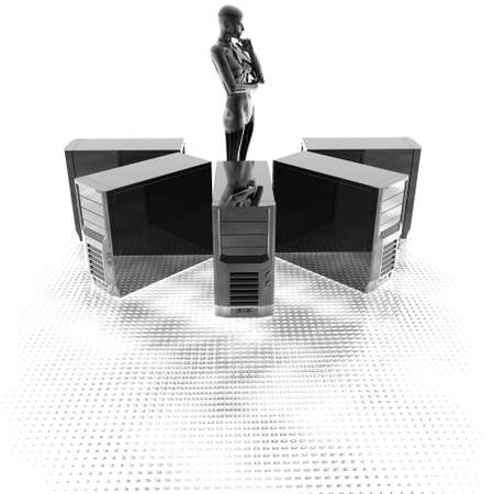 cyber girl: 3d computer servers in a row with cyber girl