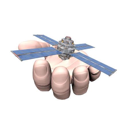 unreal unknown: Satellite Sputnik in mano isolati su bianco