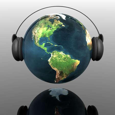 planeta tierra m�sica con auriculares Foto de archivo - 4865817