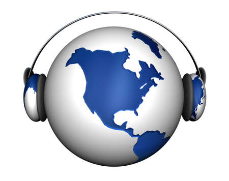 music planet earth with headphones isolated on a white