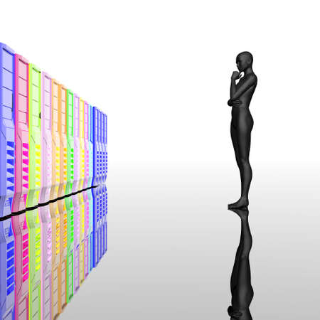cyber girl: computer servers in a row with cyber girl, reflected background