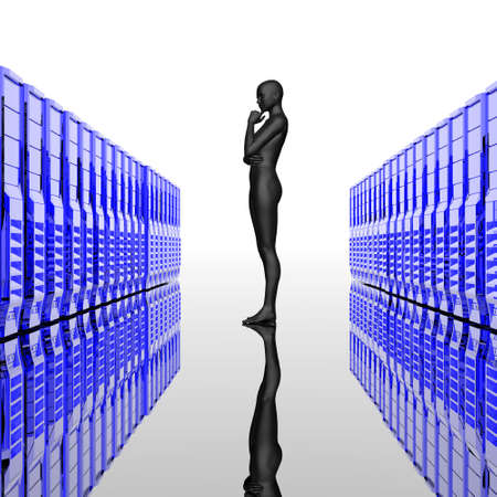 computer servers in a row with cyber girl, reflected background